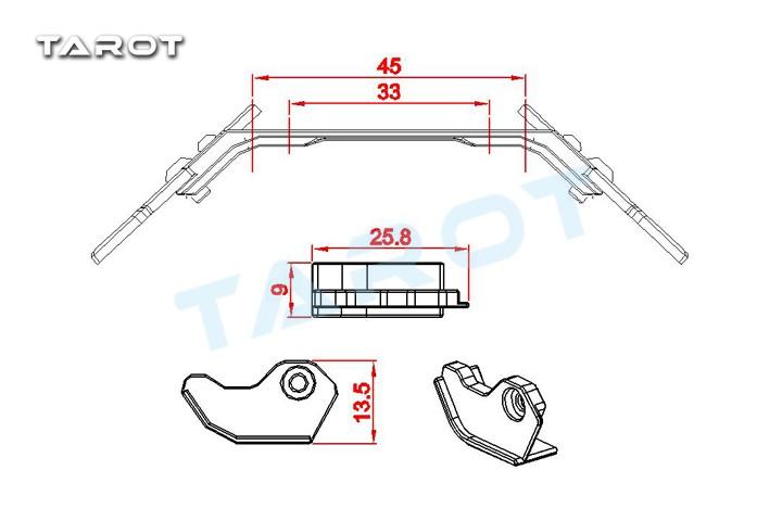 Tarot 380 Metal Landing gear set/S TL380A14 380 Spare Parts